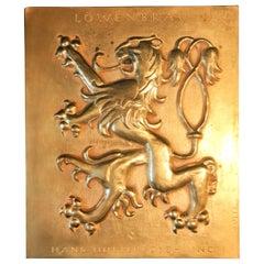 Vintage Rare Lowenbrau Rampant Lion Plaque, Copper Bronze, Signed, Goetz