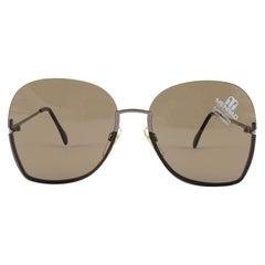 Vintage Rare Menrad 712 Half Frame Oversized Silver 1970 Sunglasses