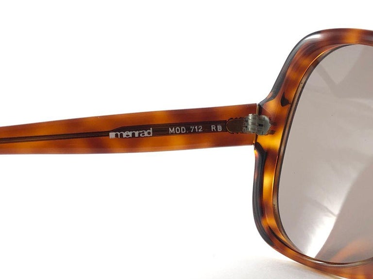 Brown Vintage Rare Menrad 712 Oversized Cut Out 1970 Sunglasses For Sale