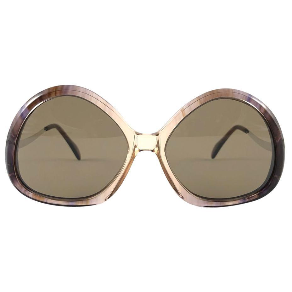 Vintage Rare Menrad M510 Funky Multicolor Rose & Silver 1970 Sunglasses