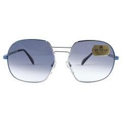 Vintage Rare Menrad M608 Gradient Blue Metallic & Silver Frame 1970s Sunglasses