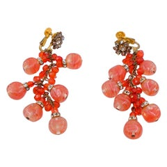Vintage Rare Miriam Haskell Coral Glass Earrings 1950's