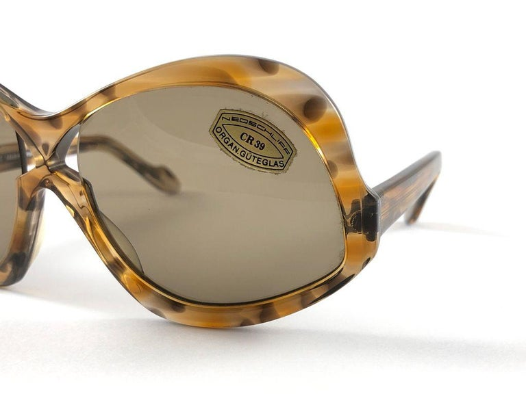 Brown Vintage Rare Neostyle Clavit 175 Oversized 1970 Sunglasses For Sale