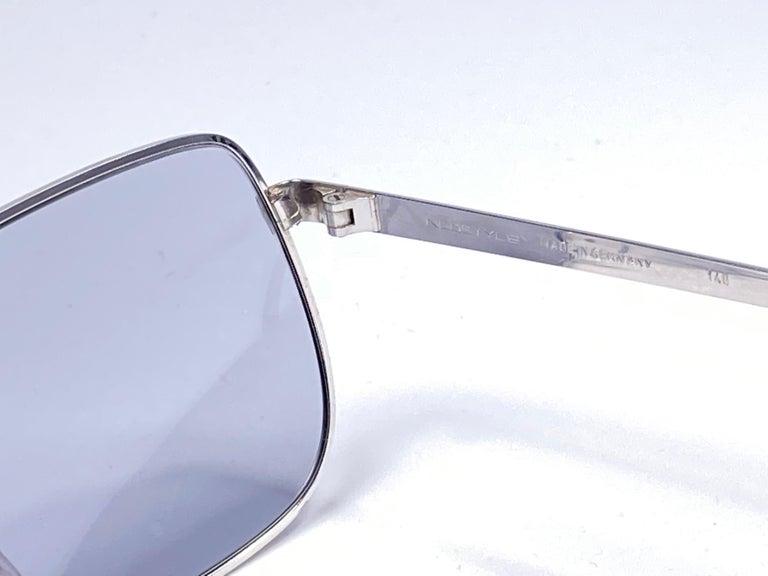 Women's Vintage Rare Neostyle Smart Silver Matte Grey Changeable Lenses 1970 Sunglasses For Sale