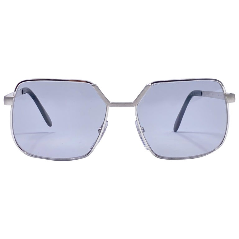 Vintage Rare Neostyle Smart Silver Matte Grey Changeable Lenses 1970 Sunglasses For Sale