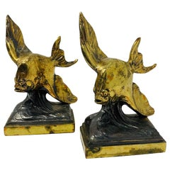 Vintage Rare Pair of Brass Flying Fish Bookends, 1930s