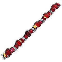 Vintage Rare Piece Eisenberg Bracelet Red and White Crystals