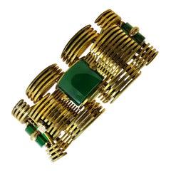 Vintage Rare Piece Signed Ciner Bracelet 18 Karat Gold Plated