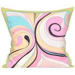 Vintage Rare Pucci Geometric Fabric Irish Linen Cushion Pillow Pink Yellow Blue