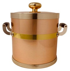Vintage Rare Rose Color Copper Hollywood Regency Ice Bucket