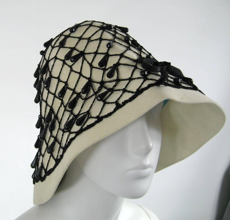 Beige Vintage Rare YSL 1960s Yves Saint Laurent Beaded Cloche Hat For Sale