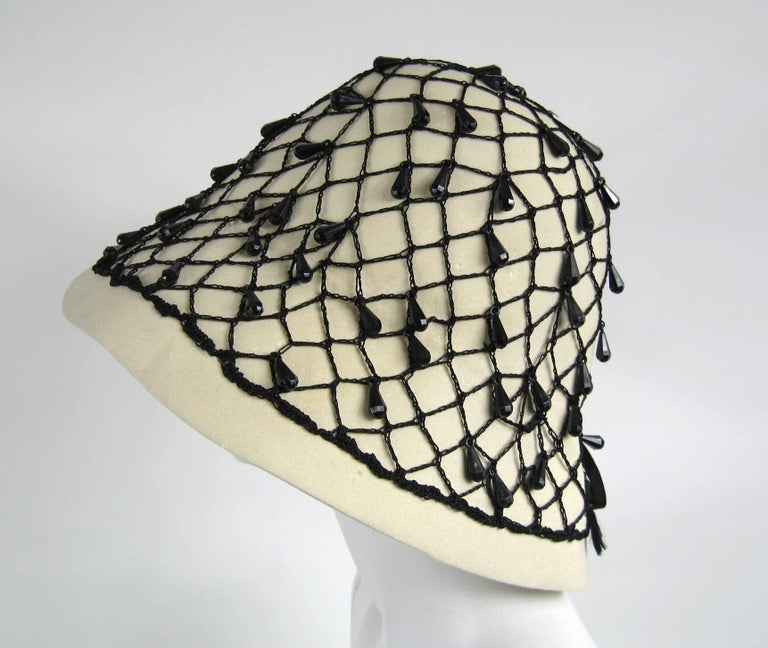 Vintage Rare YSL 1960s Yves Saint Laurent Beaded Cloche Hat In Good Condition For Sale In Wallkill, NY