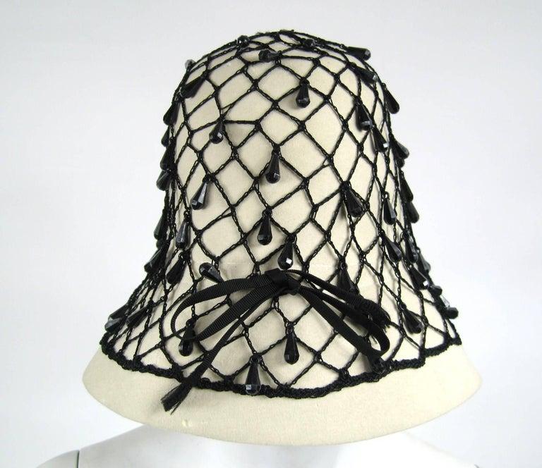 Women's Vintage Rare YSL 1960s Yves Saint Laurent Beaded Cloche Hat For Sale