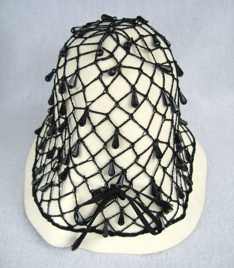 Vintage Rare YSL 1960s Yves Saint Laurent Beaded Cloche Hat For Sale 1