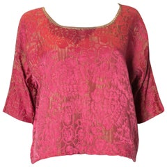 Vintage Raspberry and Gold Top