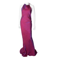 Vintage Raspberry Colour Evening Gown