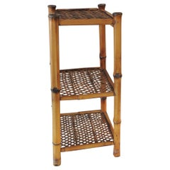 Vintage Rattan and Bamboo Three Tiers Étagère
