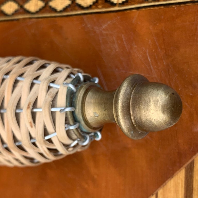 Vintage Rattan and Brass Magnifying Glass For Sale 1