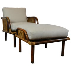 Vintage Rattan and Cane Lounge Chair by Ficks Reed, circa 1950