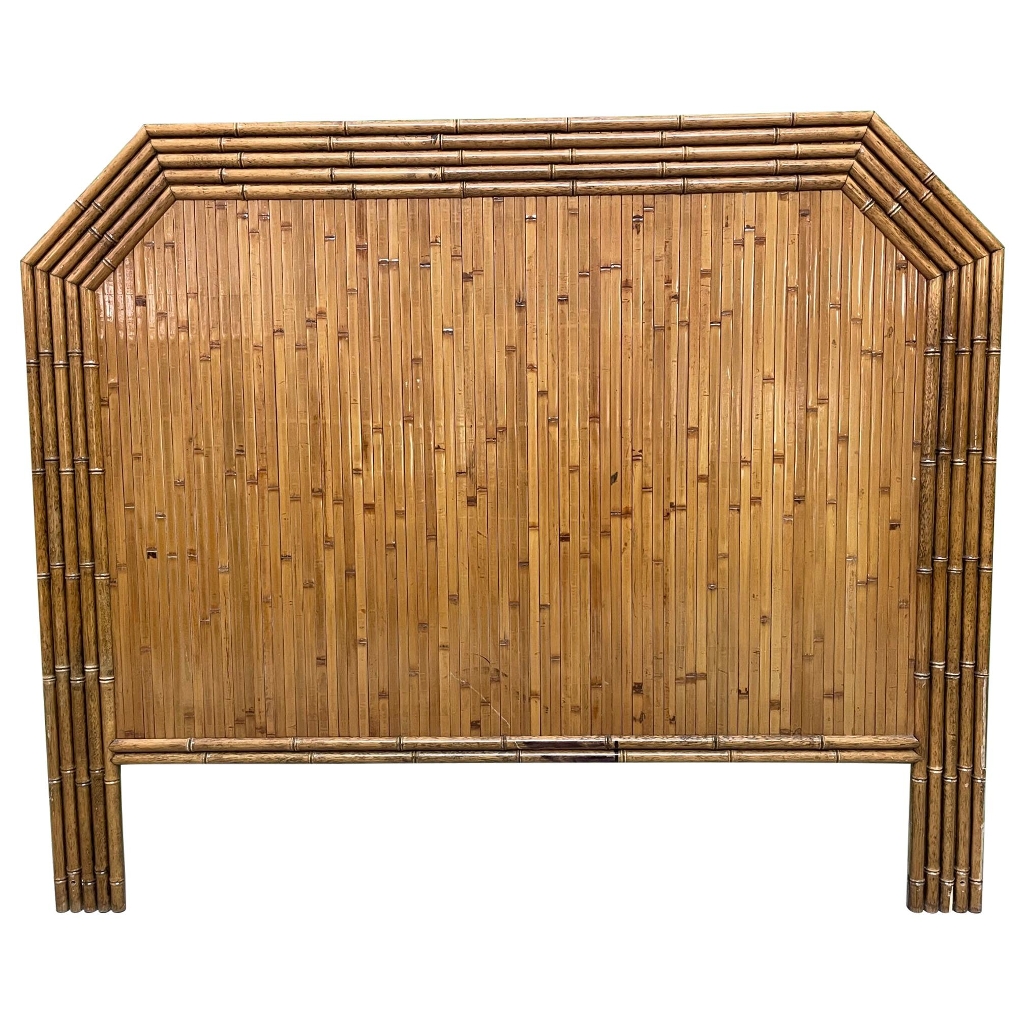 Vintage Rattan and Faux Bamboo Full Size Headboard