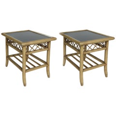 Vintage Rattan and Laminate Side Tables