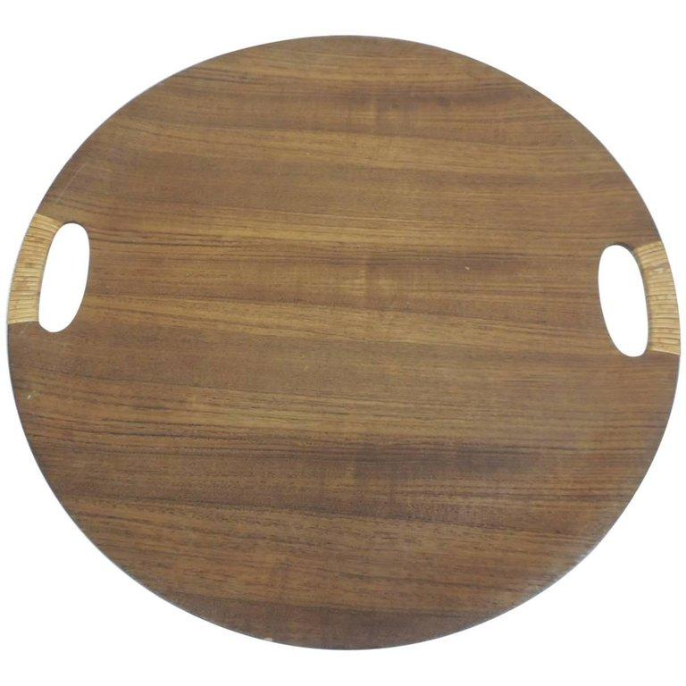 Scandinavian Vintage Rattan and Wood Round Danish Serving Tray with Rattan Handles For Sale