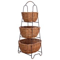 Vintage Rattan and Wrought Iron Three-Tiered Basket Stand