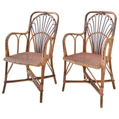 Vintage Rattan Armchairs with Elegant Pink Woven Details, France 1920's