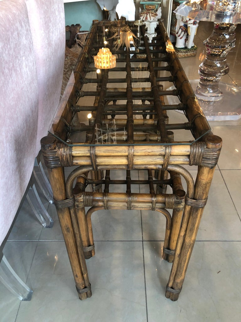 Miraculous Vintage Rattan Bamboo Console Table Pair Of Benches Ottomans Side End Tables Customarchery Wood Chair Design Ideas Customarcherynet