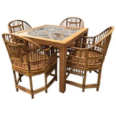 Vintage Rattan Bamboo Game Dining Table and Four Chairs Brighton Style