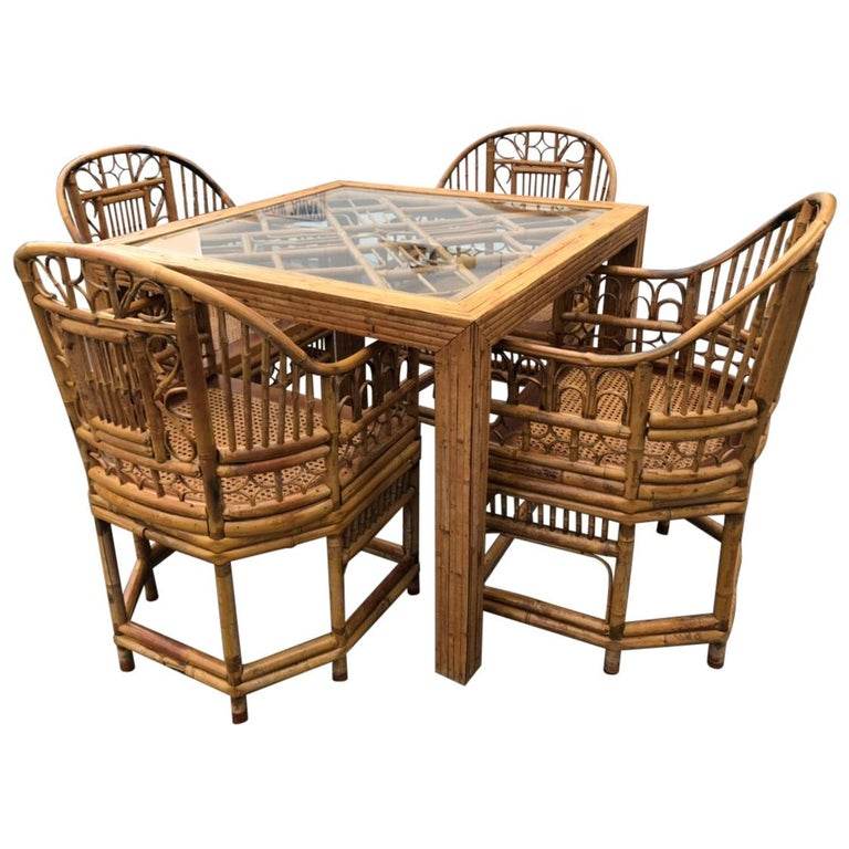 Rattan Dining Table And Chairs: Vintage Rattan Bamboo Game Dining Table And Four Chairs
