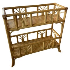 Vintage Rattan Bamboo Plant Stand Shelf Console Table
