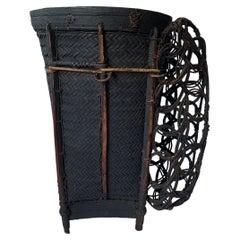 Vintage Rattan Basket Dayak Tribe Hand-Woven from Kalimantan, Borneo