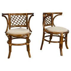 Vintage Rattan & Cane Pair of Side Chairs Woven Diamond Yoke Back Off-White Twee