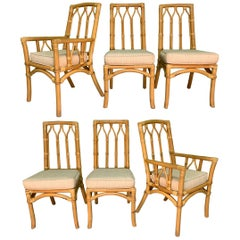 Vintage Rattan Cathedral Dining Chairs, Set of 6