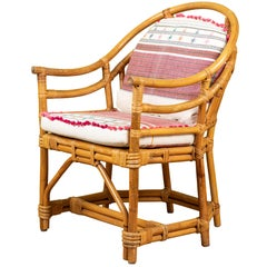 Vintage Rattan Chair with Injiri Cushions