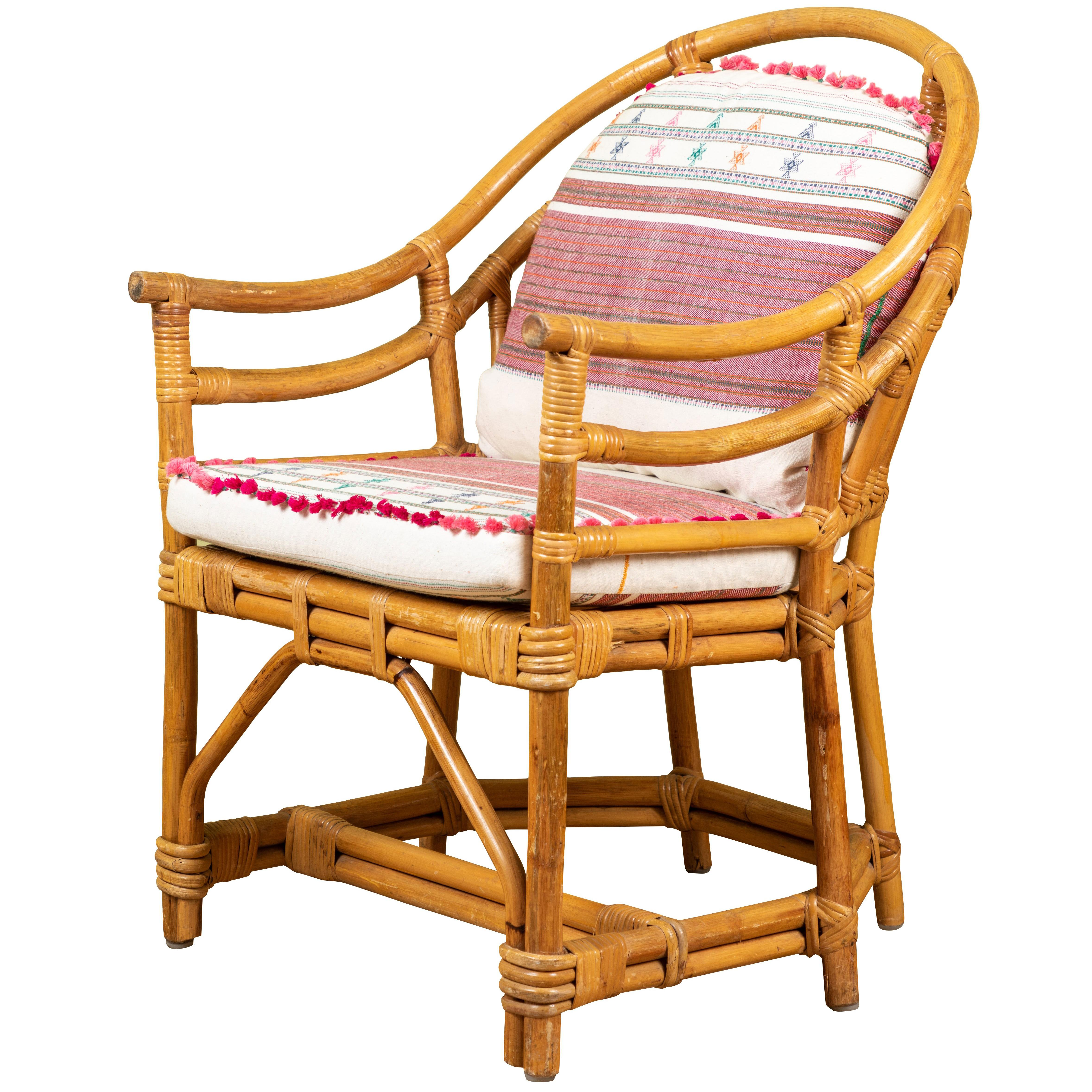 Bon Vintage Rattan Chair With Injiri Cushions For Sale
