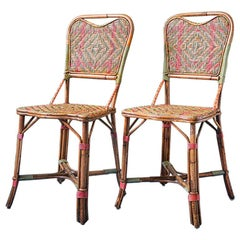 Vintage Rattan Chairs with Elegant Coral and Green Woven Details, France, 1930s