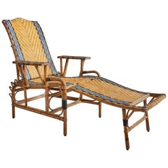 Vintage Rattan Chaise Longue with Blue and Black Woven Details, France, 1930's
