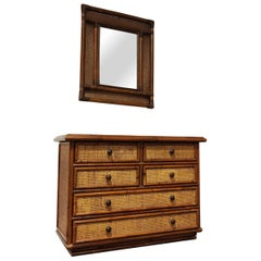 Vintage Rattan Chest of Drawers with Mirror, 1960s