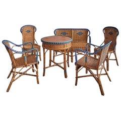 Vintage Rattan Complete Furniture Set with Elegant Woven Details, France, 1930s