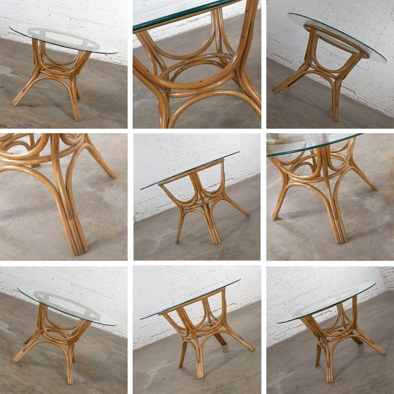 Vintage Rattan Game Table Set Round Glass Top Table and 4 Swivel Rolling Chairs For Sale 5