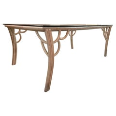 Vintage Rattan Glass Top Dining Table