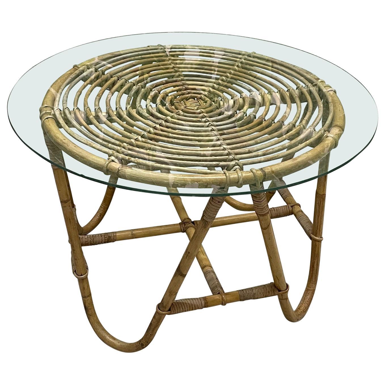 Vintage Rattan Glass Top Side Table