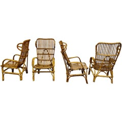 Vintage Rattan High Back Lounge Chairs, 1960s