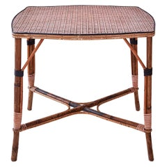 Vintage Rattan Intimate Tea Table with Pink Woven Details, France 1920s