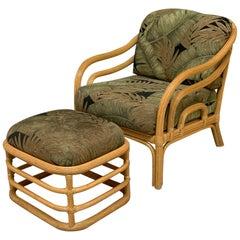 Vintage Rattan Lounge Chair and Ottoman