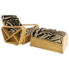 Vintage Rattan Lounge Chair and Ottoman in Zebra Hide