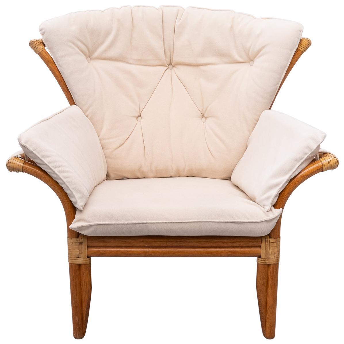 Vintage Rattan Lounge Chair, Italian, 1980s