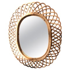 Vintage Rattan Oval Wall Mirror, Italy, circa 1960s